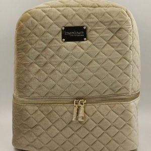 Bebe Danielle Gold velvet bookbag Backpack new